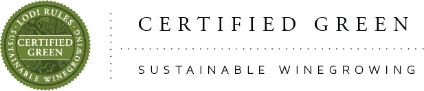 Lodi Rules for sustainable winegrowing logo with text Certified Green and Sustainable Winegrowing