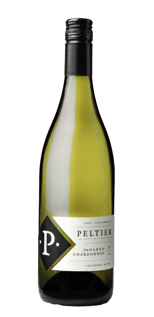A bottle of unoaked Chardonnay with a black diamond P and a white label