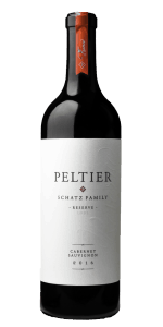 bottle of red wine with white label that says Peltier, Schatz Family Reserve, Lodi, Cabernet Sauvignon 2016 and red sticker on top