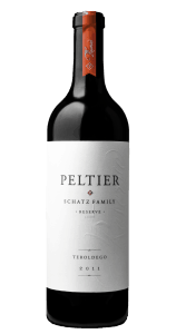 bottle of red wine with white label that says Peltier, Schatz Family Reserve, Lodi, Teroldego 2011 and red sticker on top