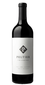 a bottle of red wine with a white label containing a silver diamond with a white P and two dots, Peltier, Triomphe, 2016 Lodi California, Premium Red Blend