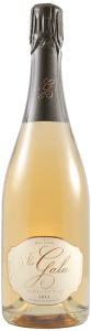 a bottle of sparkling wine with a gunmetal grey foil top, blush color wine, white label with gold lettering that says The Gala