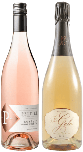 bottle of rosé and bottle of sparkling wine