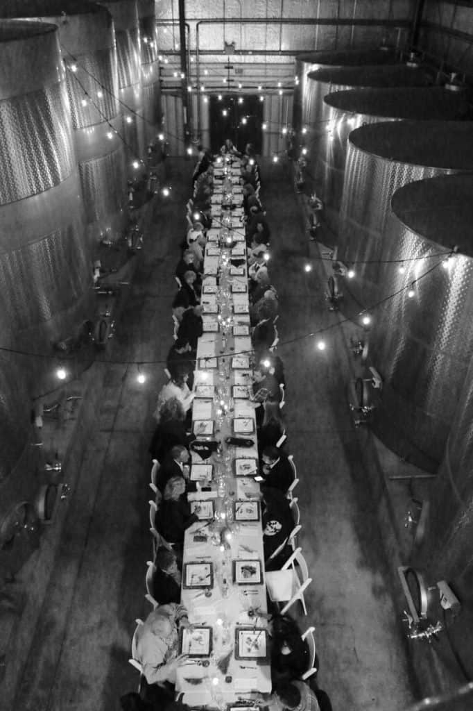 Arial view of winemaker dinner in the cellar