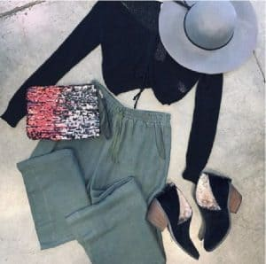 blackbird boutique Green pants black shirt grey hat black booties