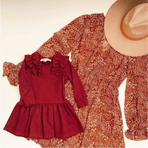 pencie and ginger womens and girls red dress with tan hat