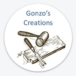 Gonzo's Creations logo with mallet, wood and carver