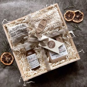 Fig & Feather Farm box of soaps and bath products