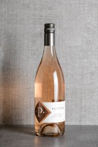 Bottle of Rosé of PInot Noir with grey background