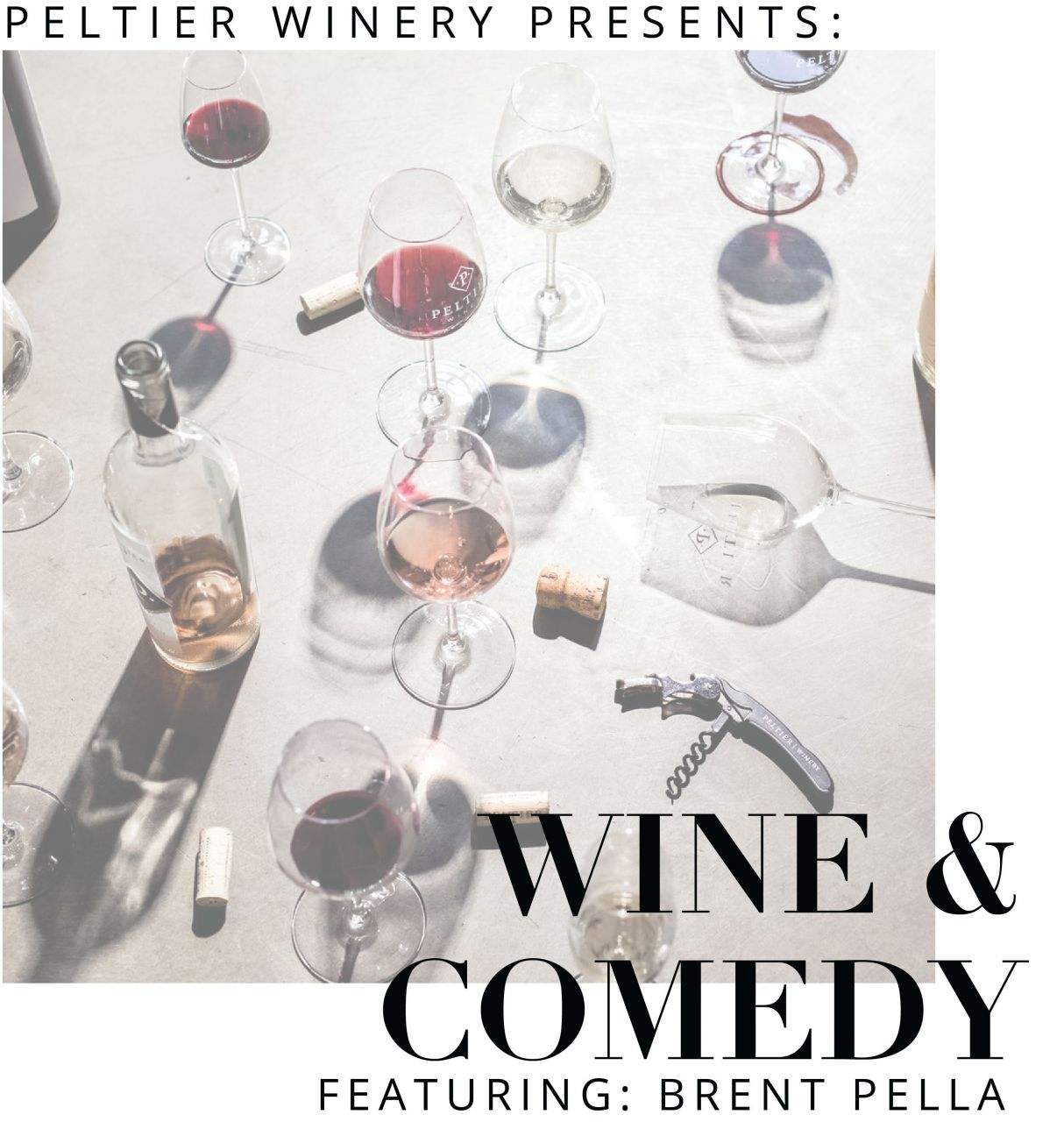 wine and comedy poster with wine glasses and bottles in the ground