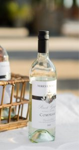 Bottle of Marengo Pinot Grigio on a white tablecloth