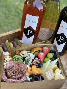 charcuterie box with Peltier Wines
