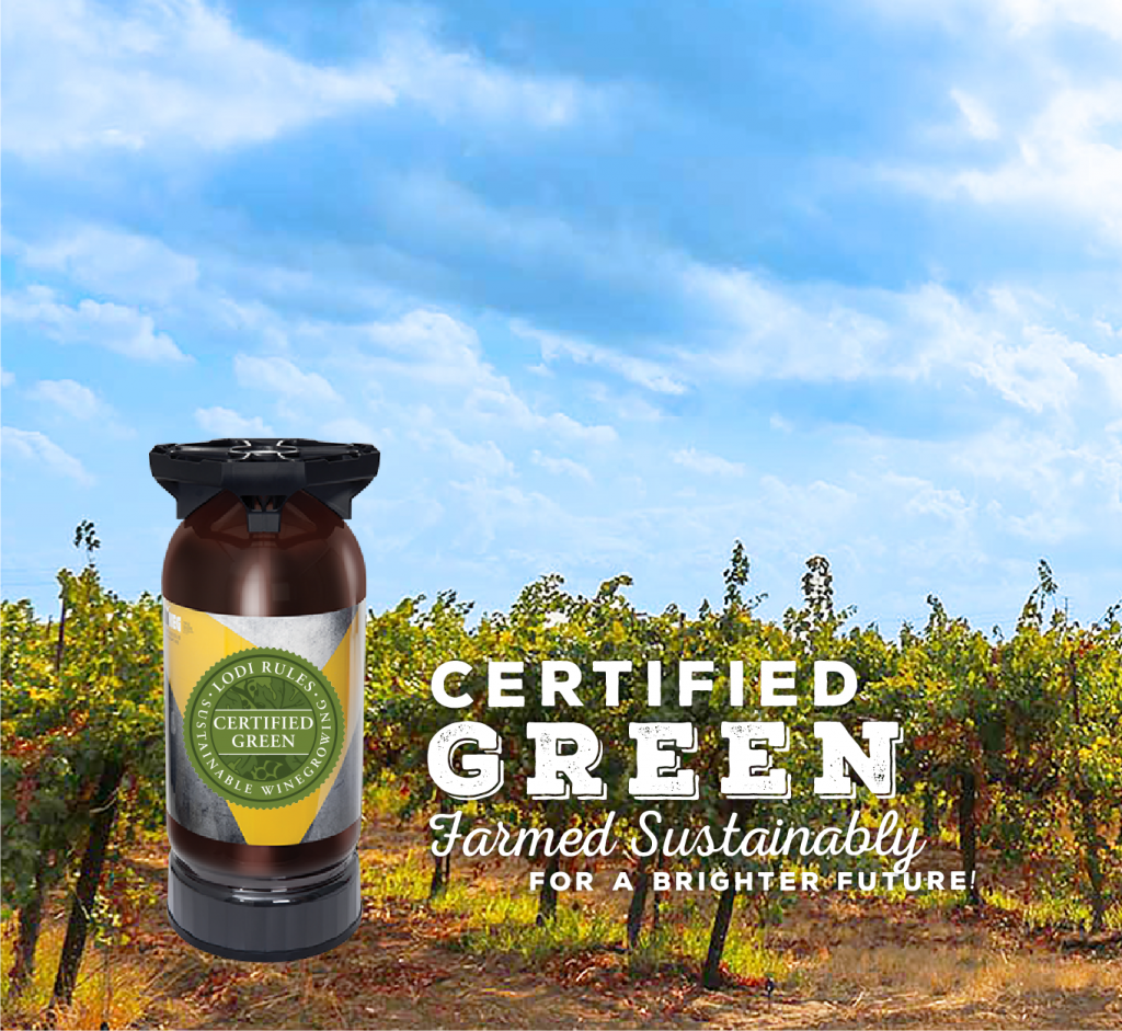 Wine keg over vineyard with blue sky and certified green farmed sustainably for a brighter future
